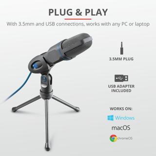 Slika Trust mikrofon USB+3.5 mm conn